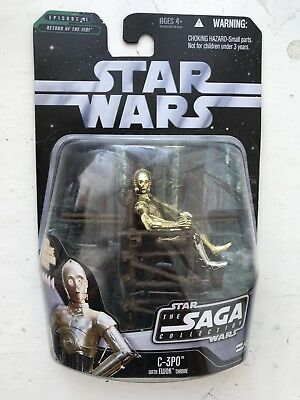 Boxed Star Wars The Saga Collection C–3Po With Ewok Hasbro Action Figure