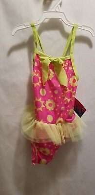 c98e317b3eaea Toddler Girls Pink And Yellow Jump N Splash One Piece Swim Suit, Size 2T