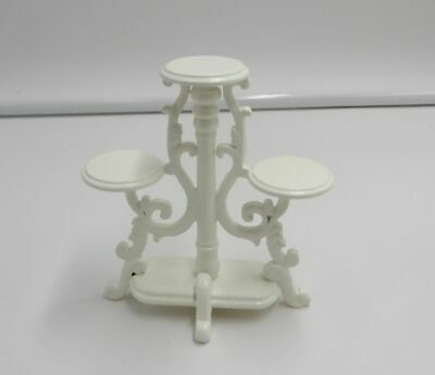 Dollhouse Miniature Plant Flower Wood Stand Garden Decor 1:12 Scale White New