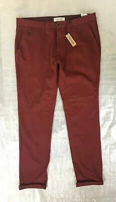 "Bnwt Men's "" River Island "" Dark Red Chino Trousers - W36L ! Rrp £25"