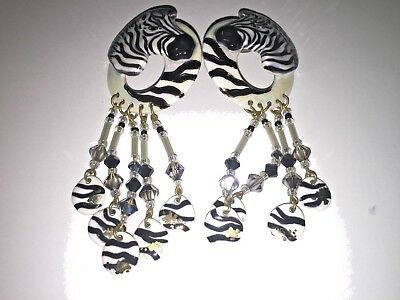 Custom Hand Painted/Signed Ceramic And Beads Zebra Dangle Pierced Earrings