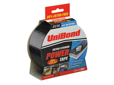 UniBond Extra Strong Waterproof Power Tape 50mm x 25m Gaffa Cloth Duct Duck Blck