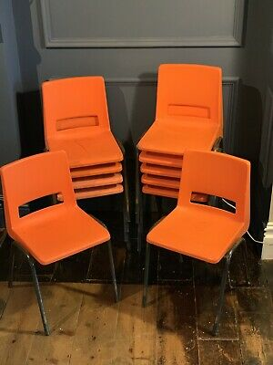 11 x Vintage 1970s 1980s Orange Plastic Classroom School Junior Stacking Chair