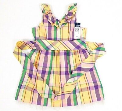 Chaps Ralph Lauren Girls Dress Sz 7 Easter Spring Purple Plaid Ruffle Party New