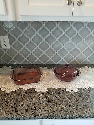 Vtg 3 Piece Lot of Glass Pyrex Corning Visions Ware Cranberry Purple Cookware