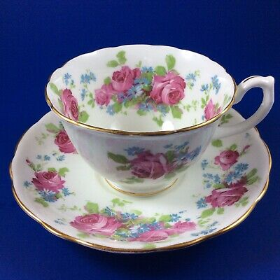 Hammersley Pink Cabbage Rose Bone China Tea Cup and Saucer