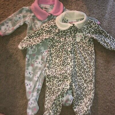 e64a41540d5882 Infant Toddler Girls Gray Kitty Cat Kitten Pink Animal Sleeper 2-PC Lot  Outfits