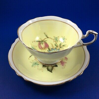 Paragon Butter Yellow Checkered Lily Floral Fine Bone China Tea Cup And Saucer