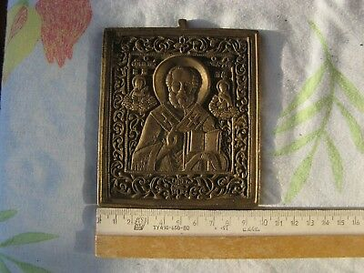 Ancient  big bronze icon on a body Sv.Nikolay19 century Rare.