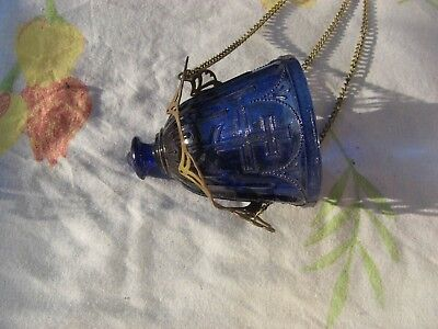 Russian, Lamp for Icon, Lampadka Orthodox Antique old blue Glass  m