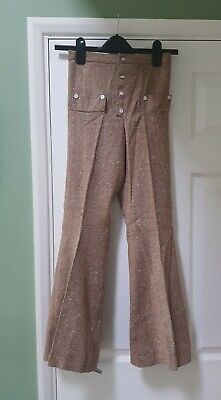 Retro vintage deadstock children's 1970s brown tweed flared trousers flares