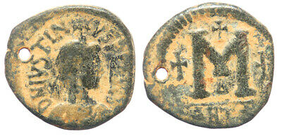 Byzantine Justin I AE Follis Antioch mint Contemporary imitation