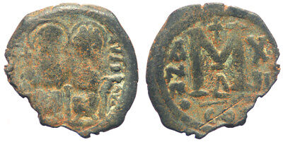 Byzantine Justin II Follis Contemporary imitation Sasanian occupation
