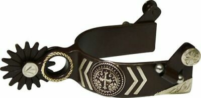 Showman BROWN Steel SPURS Silver Engraved CROSS Concho & Silver Accents