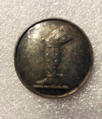 1 Piece Silvered Squirrel on Turreted Crown 19thC Peerage LIVERY BUTTON #L68