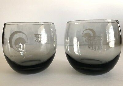 Vintage Set Of 2 Los Angeles Rams Smoked Gray Roly Poly Cocktail Glasses