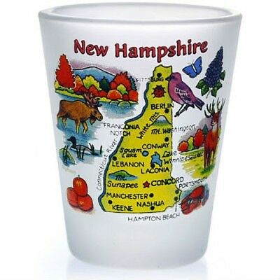 New Hampshire Map Frosted Shot Glass Shotglass
