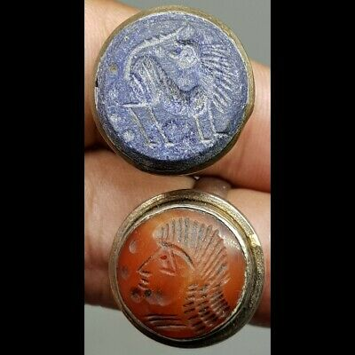 2 Stunning Old Lapis & Agate stone Emperor & Lion Face Seal Stones Rings     #1