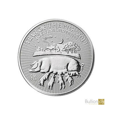 2019 Lunar Year of the Pig UK Silver Coin 1 oz New Silver Coin in capsule