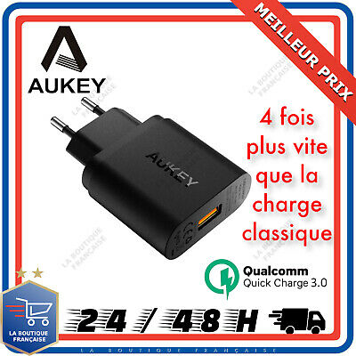 Chargeur Rapide Samsung iPhone Secteur AUKEY Quick Charge 3,0 Prise Mural USB