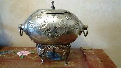 Antique Victorian Silver Metal Biscuit Box Pot Urn on Three Legs Floral Motives