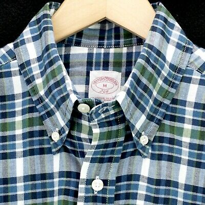 eda4e4edd44b8 Brooks Brothers Short Sleeve Shirt Lightweight Blue Green Madras Plaid Mens  M