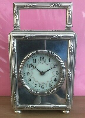 Antique Silver Miniature Carriage Clock. Goldsmiths & Silversmiths Co. Lon 1902