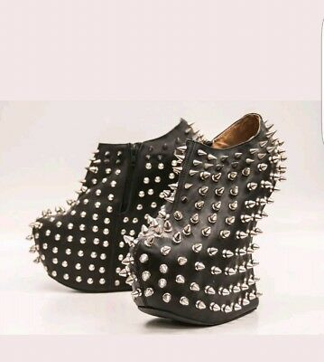 4249a8d073ef Jeffrey Campbell Black Leather Shadow Silver Stud Heel-Less Spike Boots  size 5.5