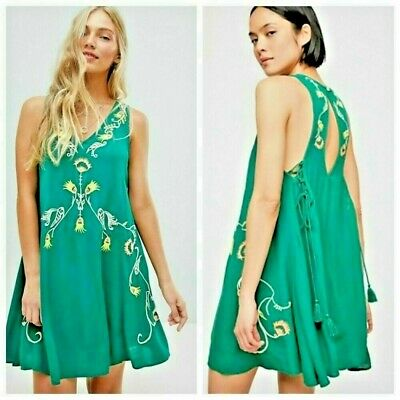 7692bd03146d2 $98 Free People Adelaide Festival Embroidered Slip Tank Dress Green Ivy XS