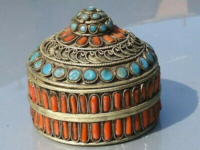 Tibetan vintage Trinket Brass lidded Box Red Coral and Turquoise precious stones