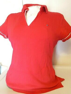 a097f8c0 TOMMY HILFIGER WOMEN'S Short Sleeve Polo Shirt Size Large Slim Fit ...