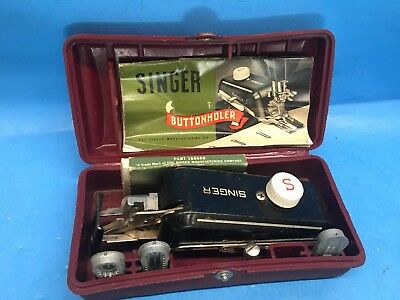 Vintage Singer sewing Button Tool Kit In Case-Button Attachment Kit & Hardware