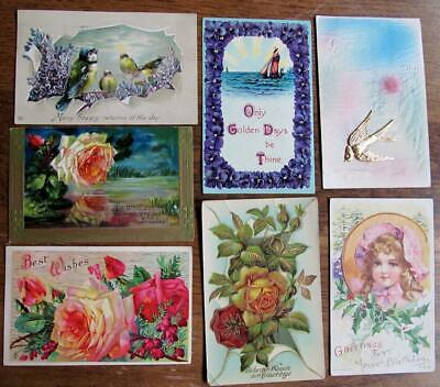 Lot of 7 Vintage VICTORIAN Greeting & Best Wishes Postcards #17-q