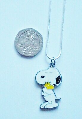SNOOPY THE DOG /& WOODSTOCK THE BIRD ENAMEL PENDANT 925 STERLING SILVER NECKLACE