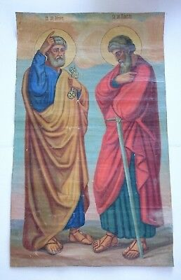 Antique Russian Large  Icon in Canvas Apostle Petros and Paul 19th century.