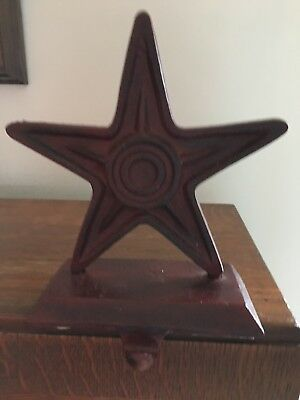 Rustic Star Heavy Cast Iron Christmas Stocking Holder Hanger red rusty Country
