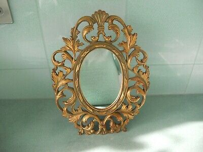 Ornately Carved Gilt Wood Oval Mirror - French Rococo Style Freestanding / Wall