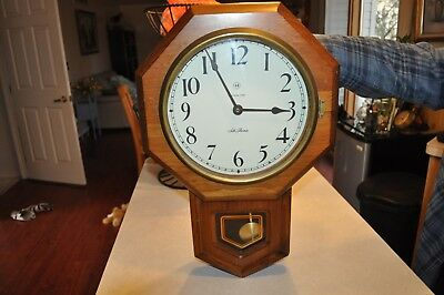 Seth Thomas Electronic Strike Clock Talley Industries 2334-001 Glass Wood Bell