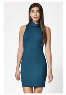 4478258877 Kendall   Kylie Sleeveless Dress Turtleneck Ribbed Fitted Women s Size  Large New