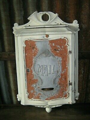 "Large Cast 20 1/4"" x 12 3/4"" Antique ORNATE Wall Mount Wall Hung Mailbox No Key"