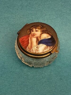 Antique Handpainted Porcelain & Glass Powder Or Snuff Box with portrait & mirror