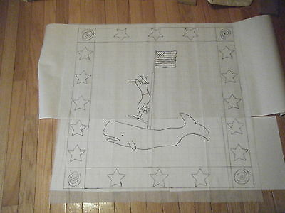Primitive sailor and whale rug hooking pattern on gridded trace fabric