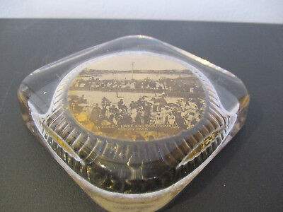 Circa 1910 Souvenir Paperweight Wesley Lake & Boardwalk Asbury Park New Jersey *