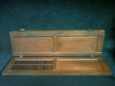 Antique Vintage Wood Brown Primitive Farmhouse Louvers Rustic Shutters