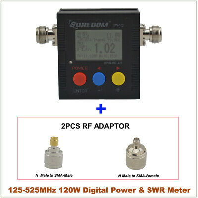 SURECOM SW-102 SWR Meter & Frequency Counter +SO239 connector adapter ham tester