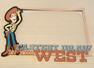 Disney inspired Woody From Toy Story printed scrapbook page die cut frame