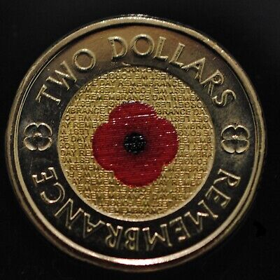 2012 Australia Remembrance Day Red Poppy $2 UNC Coin