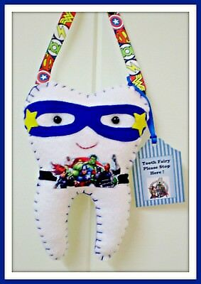 Tooth Fairy Pillow Avengers inspired- Handcrafted- Pocket on back for lost tooth