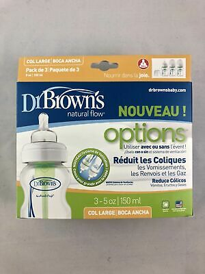 Dr. Browns Options Wide Neck Bottle, 3pk, clear, 5oz With Vent & Level 1 Nipples
