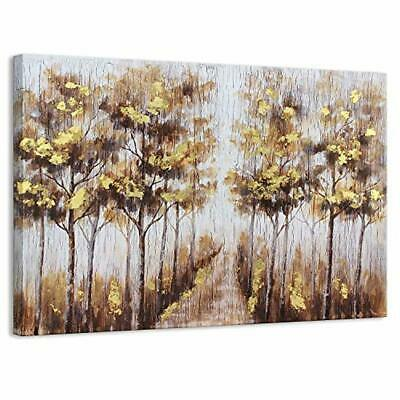 Kas Home Art Modern Abstract Blooming Gold Flower Tree Canvas Prints Framed Wall